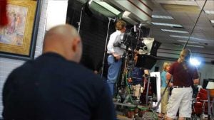 photo of commercial shoot with dolly and track
